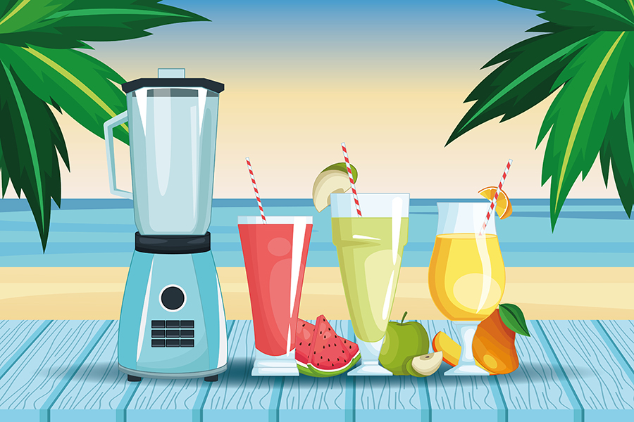 smoothies and mixer beach landscape icon cartoon vector illustration graphic design